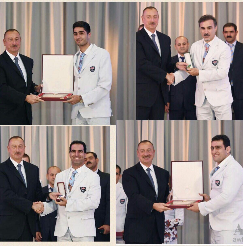 از مربی و کشتی گیر «کرد» ایرانی کشور آذربایجان توسط رئیس جمهور این کشور تقدیر شد